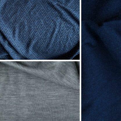 Merino geo na modrej │sivý melír – tmavomodrý patent