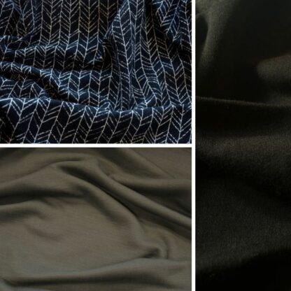 merino vetvičky na čiernej │oceľová sivá – čierny patent