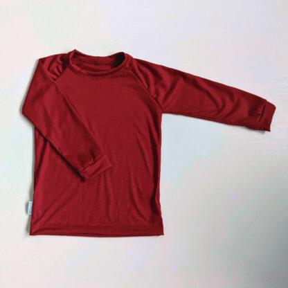 Detské merino tričko Becherov sýtočervená