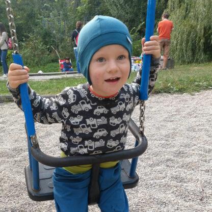 Detské merino tričko Heľpa - autíčka na tmavosivej