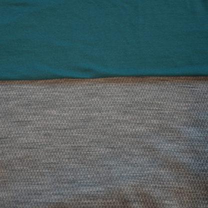 100% merino mesh sivý melír + petrolejová zelená