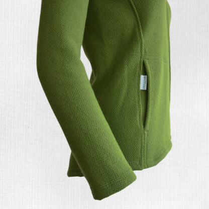 damska merino mikina bystra zelena detail