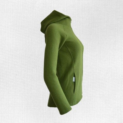 damska merino mikina bystra zelena zboku