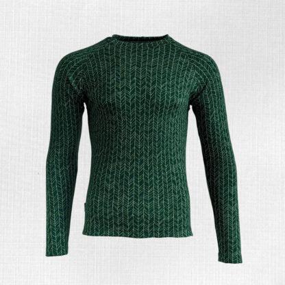 Pánske merino tričko Kežmarok - vetvičky na zelenej