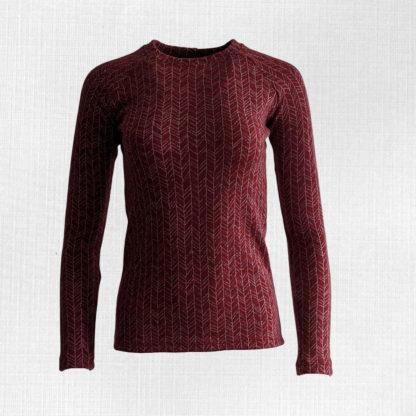 Dámske merino tričko Kokava - vetvičky červený melír