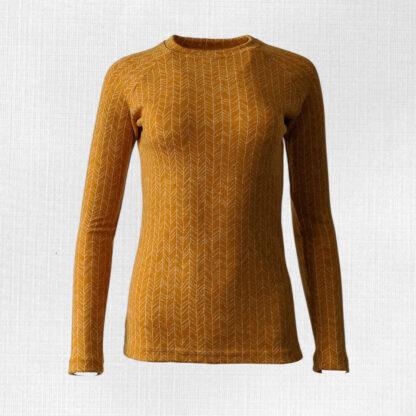 Dámske tričko z merino vlny Kokava - horčicová