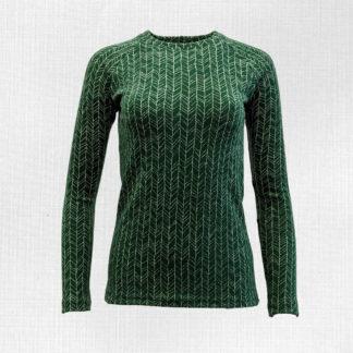 Dámske merino trićko Kokava zelené vetvičky