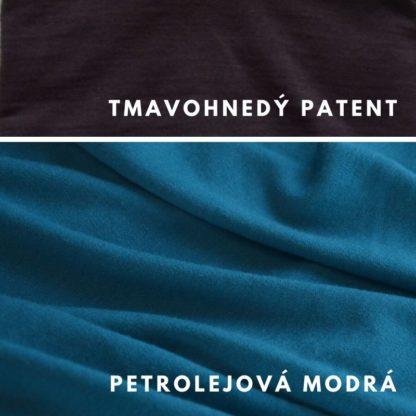 Petrolejová modrá - tmavohnedý patent
