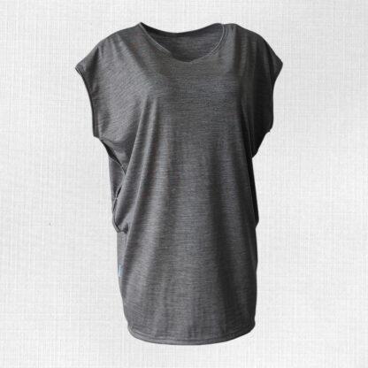 Dámske oversized merino tričko na kojenie Kamenica - svetlosivý melír