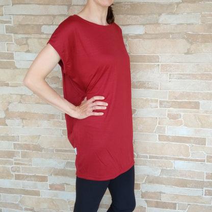 Dámske nadrozmerné merino tričko - červená