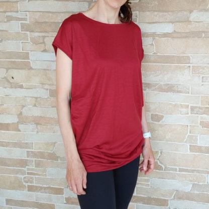 Dámske ležérne tričko z merina - červené