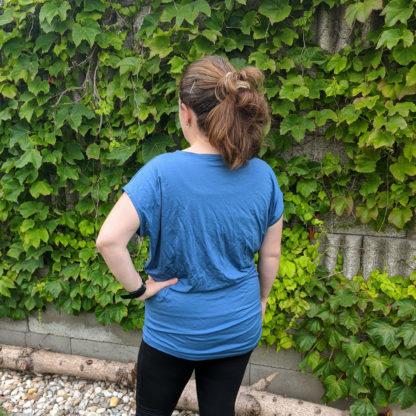 Dámske nadrozmerne merino trićko - oceľová modrá