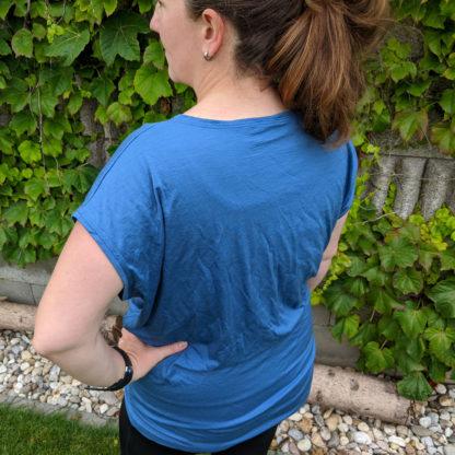 Dámske streetwear merino tričko - oceľová modrá