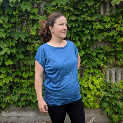Hladké oversized merino tričko - oceľová modrá