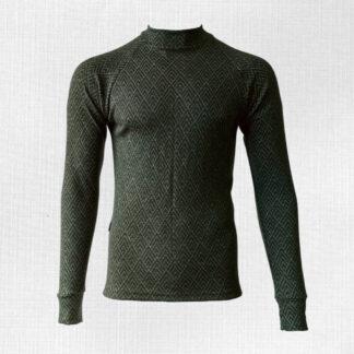Pánske merino tričko Baranec - vzor geo na olivovej zelenej