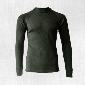 Olivovo zelené tričko z merina pre pánov