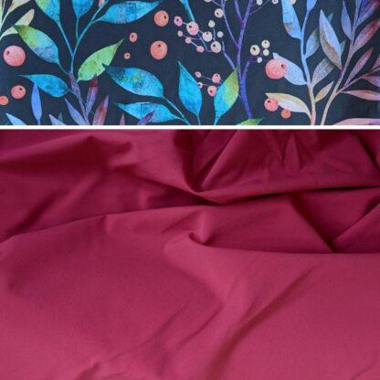 Nepremokavé merino softshellové nohavice malinová - kvety