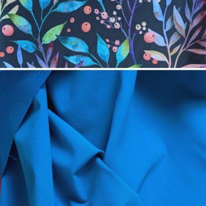 Merino softshell modrá - kvety