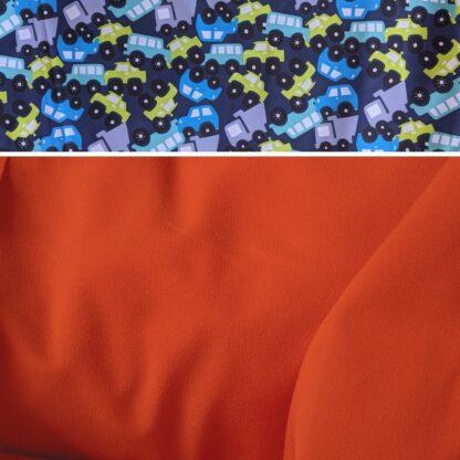 Merino softshell nohavice oranžová - autá