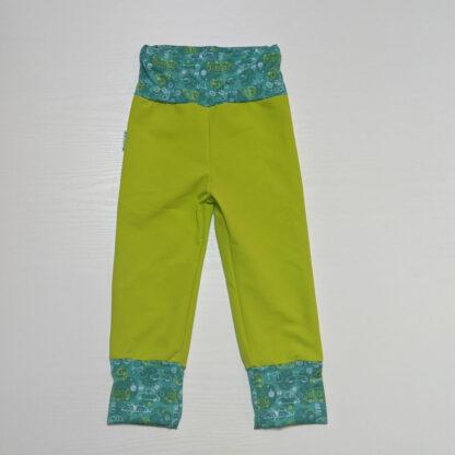 Detské softshell nohavice s merino vlnou - neón žltá - autá karavan