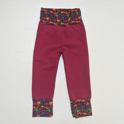 Softshellové nohavice s merinom pre deti - malinová - rybky dievča