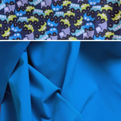 Softshellové nohavice s merino vlnou pre deti modrá - autá