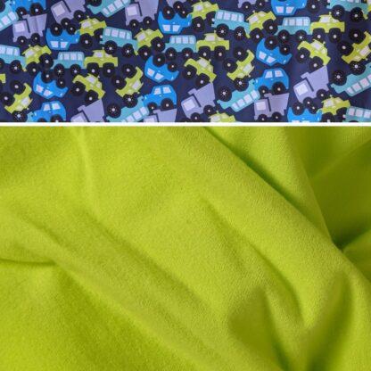 Merino softshell nohavice pre deti neónová žltá - autá