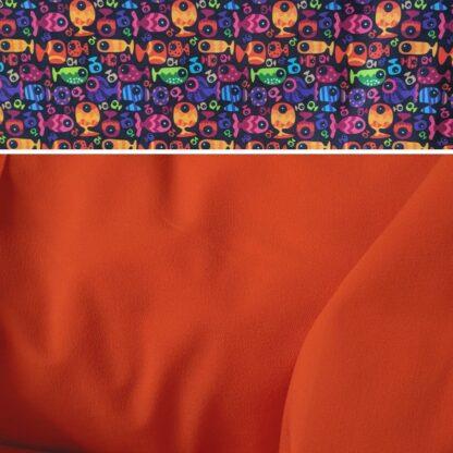 Merino softshell nohavice pre deti oranžová - rybky dievča