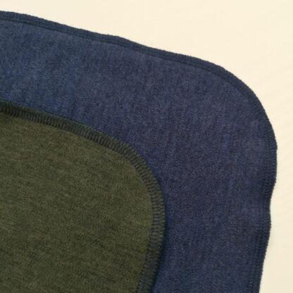 Merino deka Šindliarka - modrý melír - olivová zelená