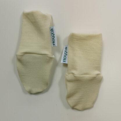 Novorodenecké rukavičky z merina krémová